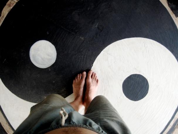 "Yin Yang 2011 Acrylic on Wood 48""x48"" Painted in NT Australia"