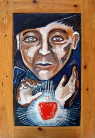 """Old Boy and the Apple 2013 Acrylic on Canvas 28""""x16"""""""