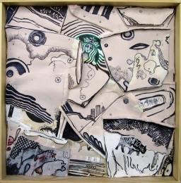 """Blackstar and the Buffalo 2014 Acrylic and Ink on Coffee Cups 12""""x12"""""""