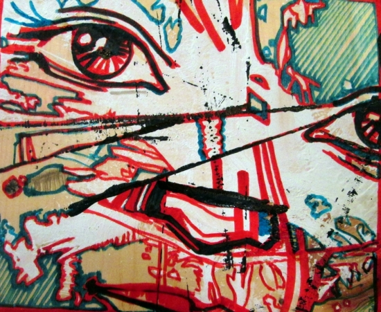 """Red Eye 2014 Acrylic and Ink on Coffee Cups 12""""x12"""""""
