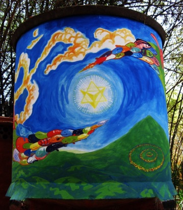 "Auroville Om Tank 2010 Acrylic on Cement 60""x300"" Painted at the Youth Camp in Auroville, India"