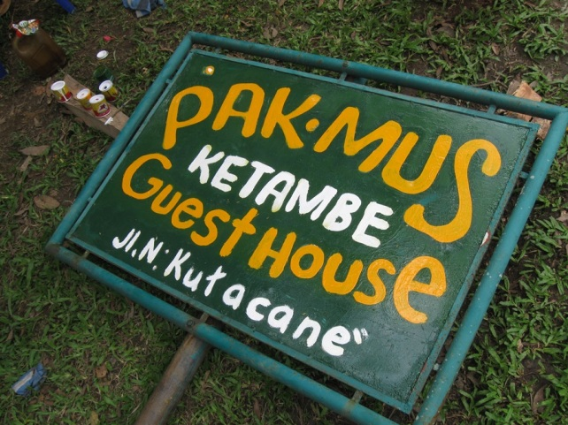"Pak Mus Guesthouse Sign 2011 Oils on Metal 24""x 40"" Painted in Aceh, Sumatra"