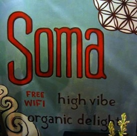 "Soma Sign 2011 Acrylic on Canvas 48""x48"" Painted for Soma High Vibe Organic Delights in Ubud, Bali"